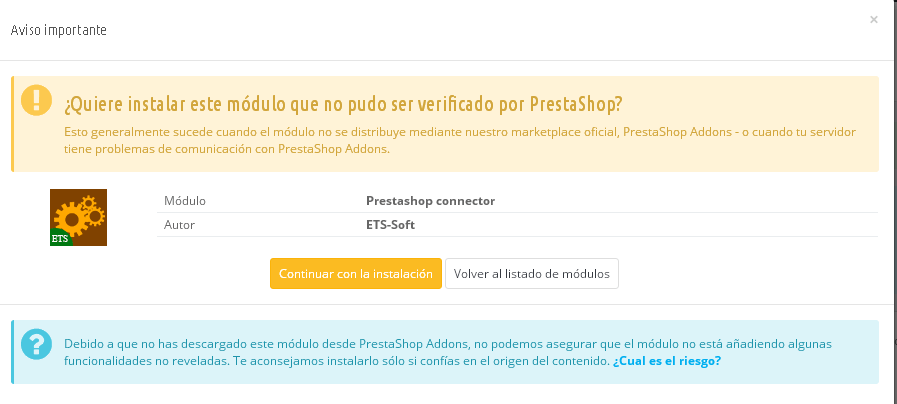 advertencia al instalar modulo Prestashop 1.6