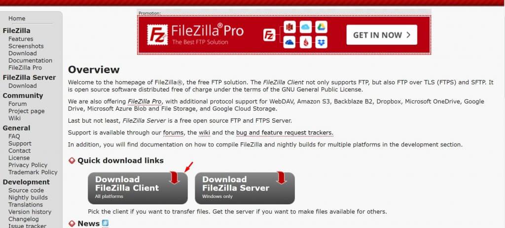 descargar cliente de Filezilla